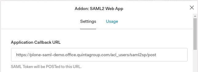 SAML2 Application Callback URL