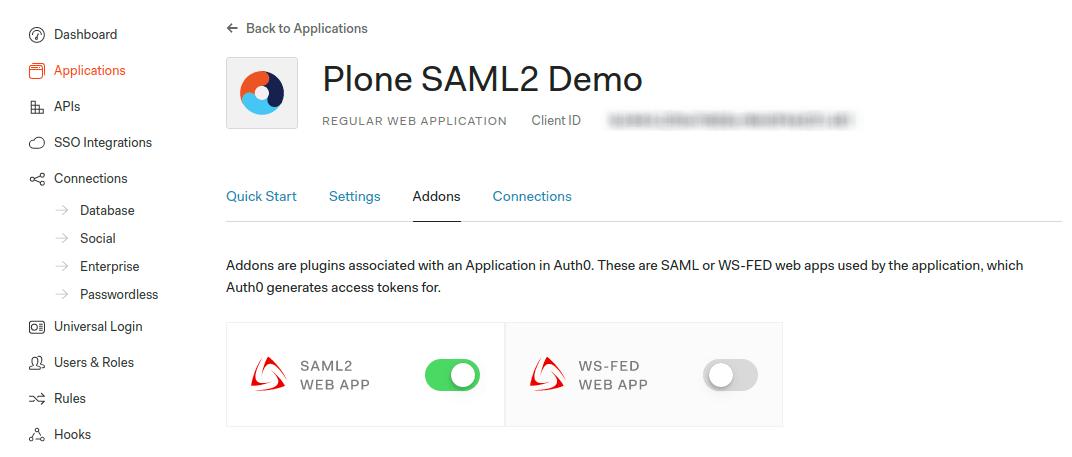 Enable SAML2 Web App addon
