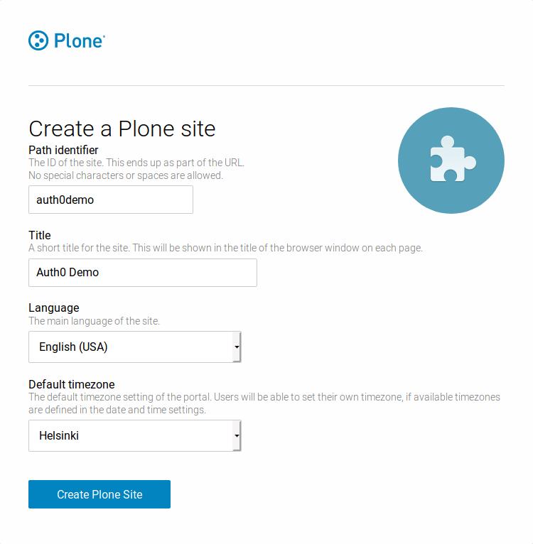 Create a new Plone site