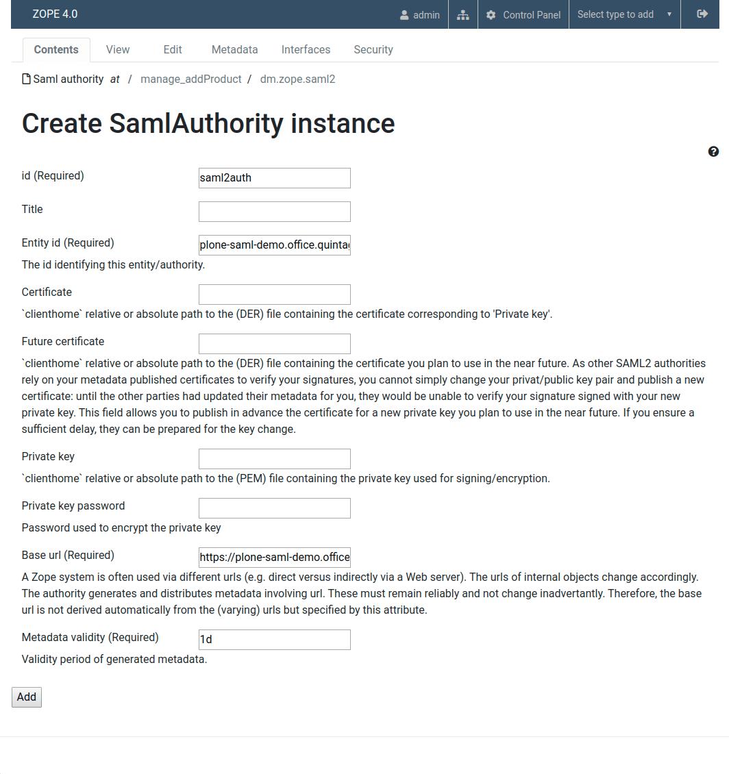Plone Saml authority
