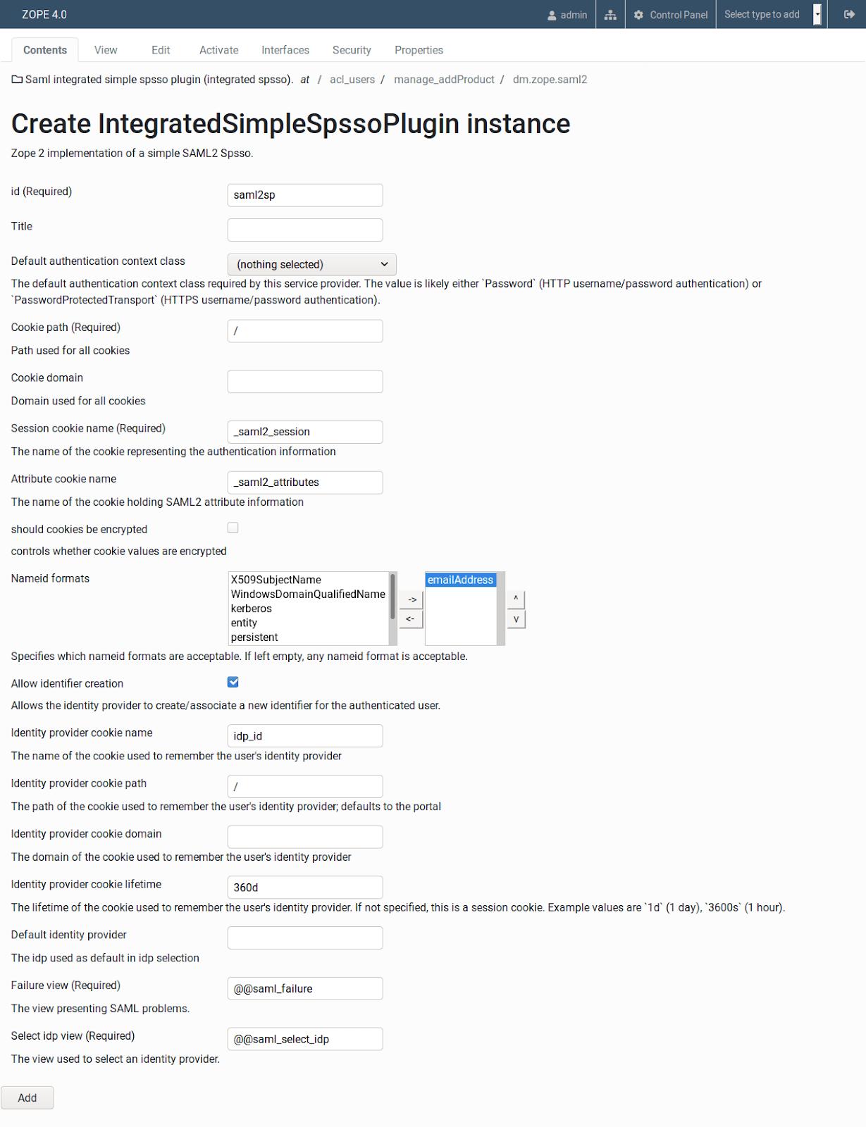 Saml integrated simple spsso plugin values