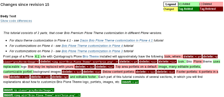 Changes, displayed inline