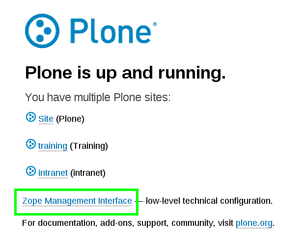 Plone startup page