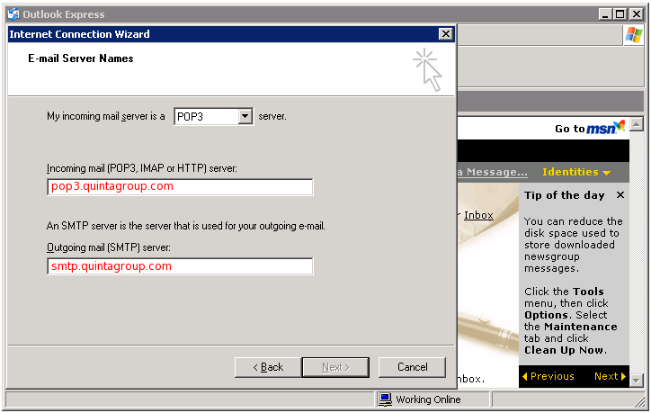 Outlook Express email server names