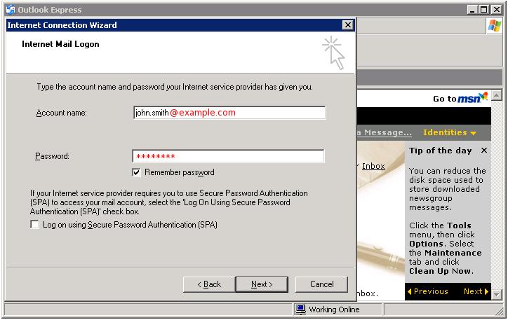 Outlook Express - internet mail logon