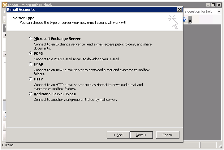 Outlook POP3 server