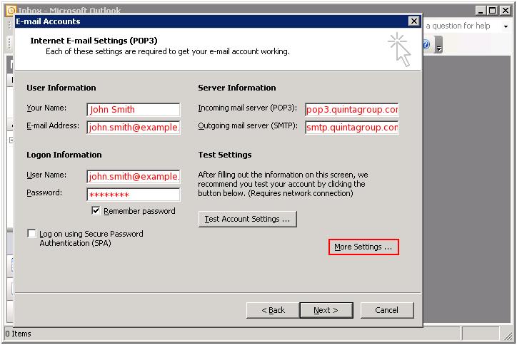 Outlook user server logon test