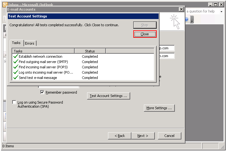 Outlook test account settings