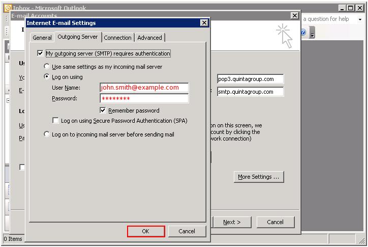 Outlook outgoing server
