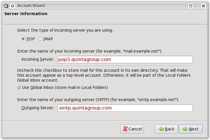 Thunderbird Server Info