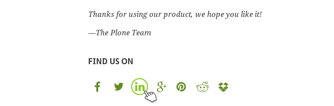 Green Bean Plone theme social icons