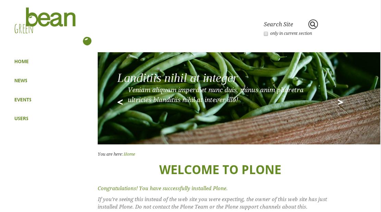 Green Bean Plone theme carousel