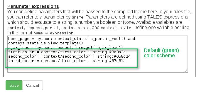 Green Bean Plone theme parameters