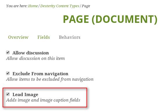Green Bean Plone theme lead image behavior