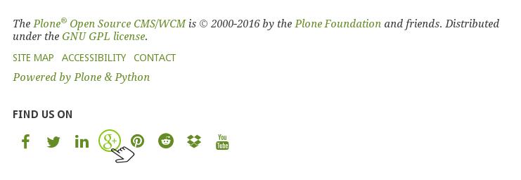 Green Bean Plone theme social icons