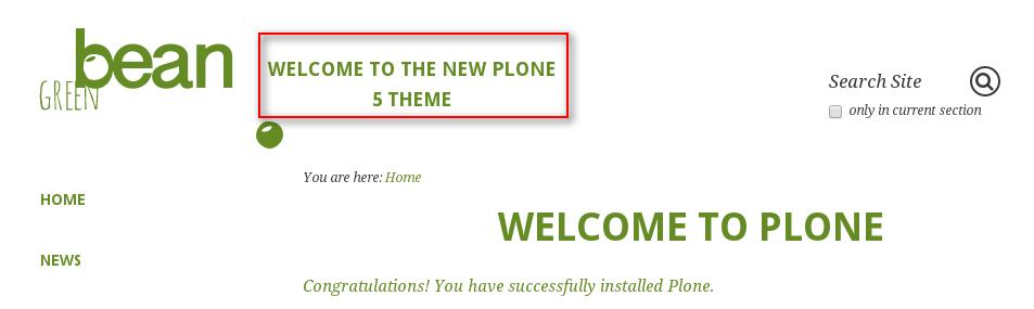 Green Bean Plone theme slogan
