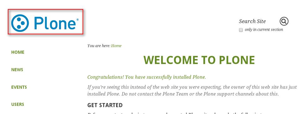 Plone default logo Greenbean theme