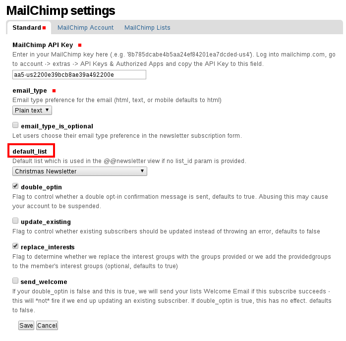 """MailChimp default list settings in Plone"