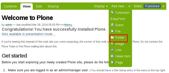 Add folder to Plone