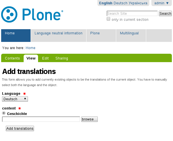 plone.app.multilingual add translation