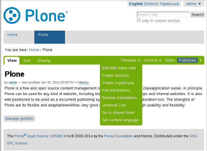 plone.app.multilingual translate menu