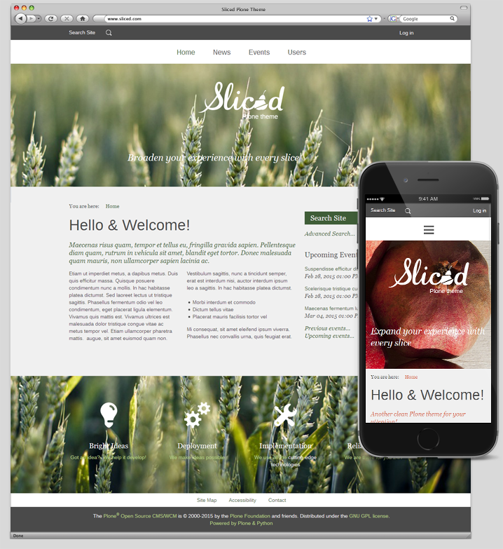 Sliced Plone Theme home page
