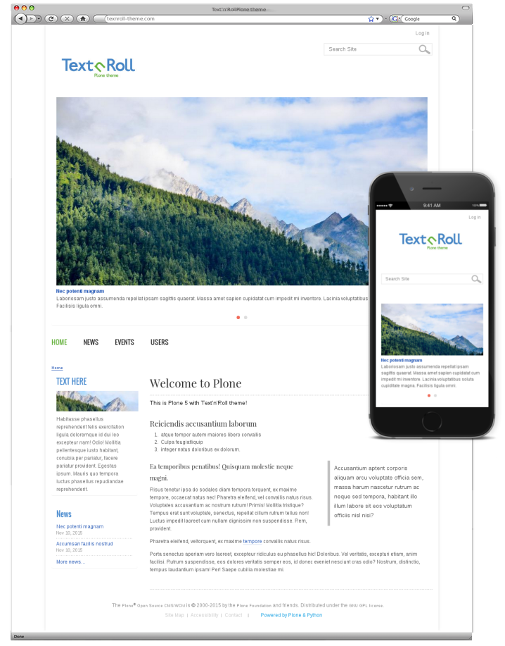 Text'n'Roll responsive plone theme