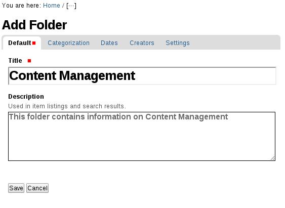 Add Plone folder content