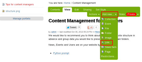 Add link to Plone