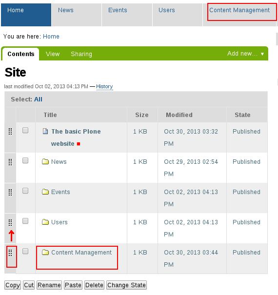 Change Plone folder position