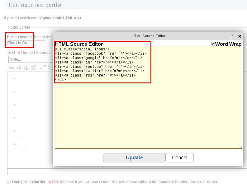 Add social icons portlet Uni Plone theme