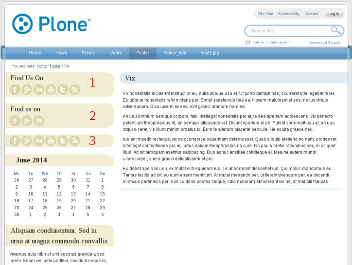 Social icons portlet Uni Plone theme