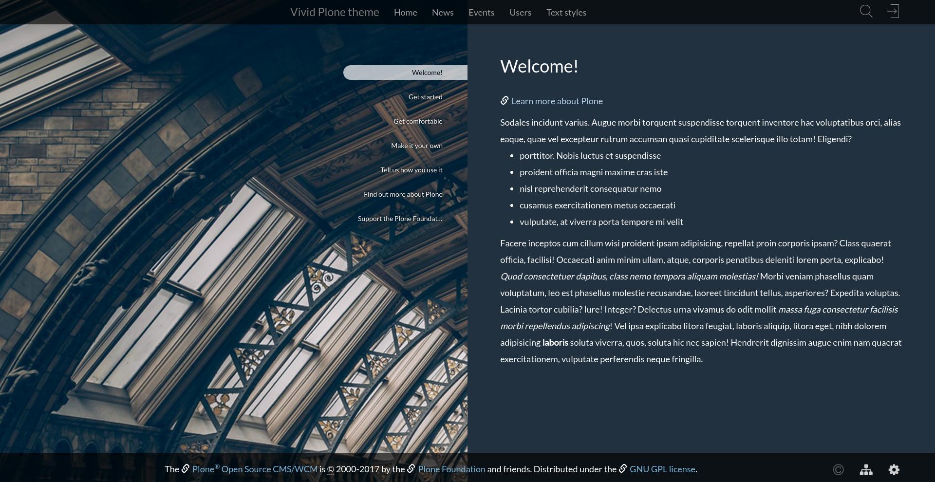Vivid Plone theme background image