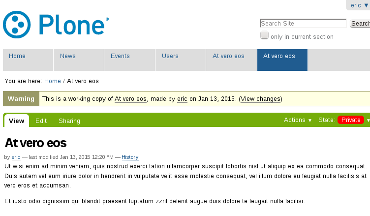 Working copy in Plone